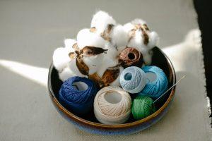 Coton, bobine de fils, matière vêtement